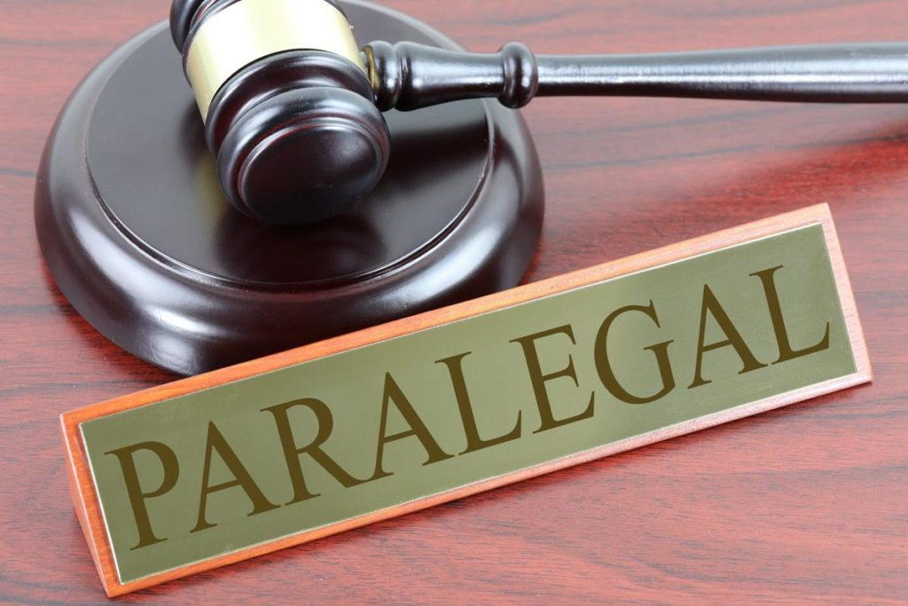 paralegal sign and gavel